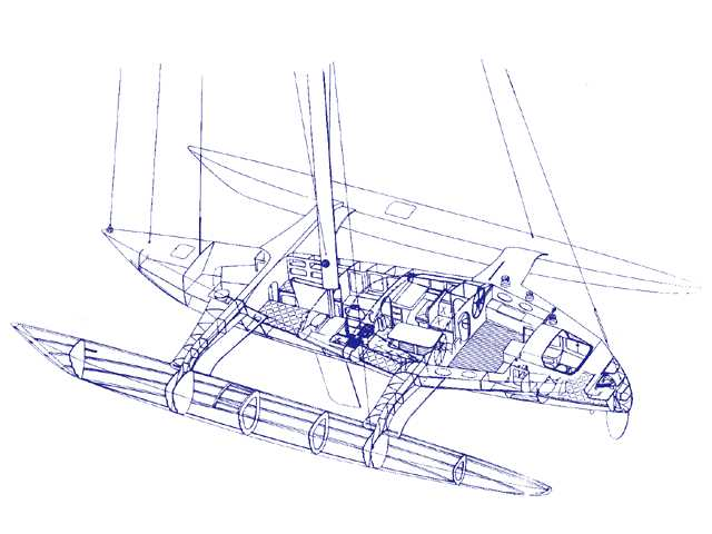 Draft for Trimaran - A trimaran is a multihulled boat consisting of a main hull (vaka) and two smaller outrigger hulls (amas), attached to the main hull with lateral struts (akas). The design and names for the trimaran components are derived from the original proa constructed by native Pacific Islanders. - , Yachts, and, Ships, Draft, Trimaran, multihulled, boat - Play puzzles with Draft for Trimaran or send Draft for Trimaran puzzle ecards to your friends </td><td valign=