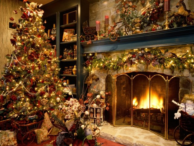Chrismas Fireplace - Christmas tree near the fireplace - , Christmas, tree, fireplace, winter, holidays - Play puzzles with Chrismas Fireplace or send Chrismas Fireplace puzzle ecards to your friends </td><td valign=
