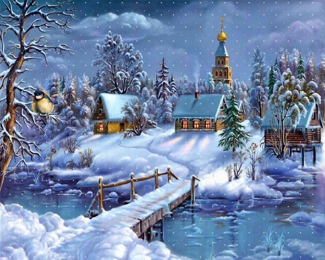 Christmas - Nice picture for Christmas - a village in winter - , Christmas, village, winter - Play puzzles with Christmas or send Christmas puzzle ecards to your friends </td><td valign=